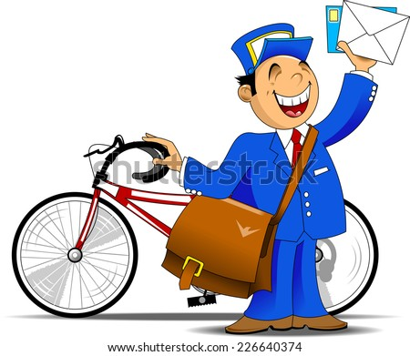 postman in blue uniform with a big bag brought letters, vector - stock vector