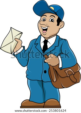 Postman. Postman with bag and letter. Drawn in cartoon style. - stock vector