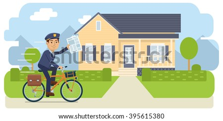 Postman riding bike and delivering newspapers - stock vector