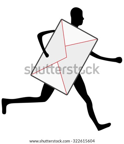 postman sillhouette running with envelope, express delivery - stock vector