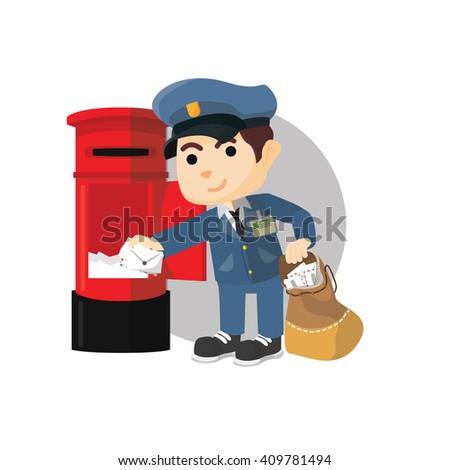 Postman taking mail  - stock vector
