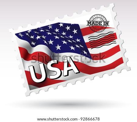 Postmark Made in USA vector flag - stock vector