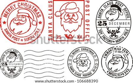 postmarks - merry christmas - stock vector