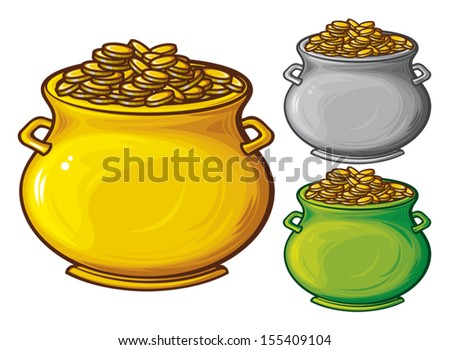 pot of gold coins (pot of gold)  - stock vector