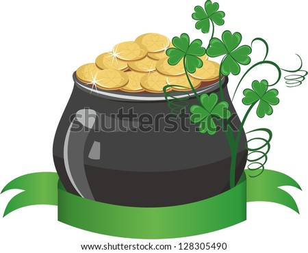 Pot of gold with banner - stock vector