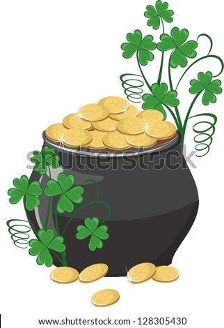 Pot of gold with clover - stock vector