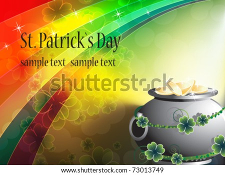Pot of treasure on rainbow background. St. Patrick's Day card - stock vector