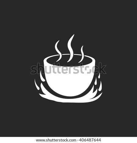 Pot on fire sign simple icon on background