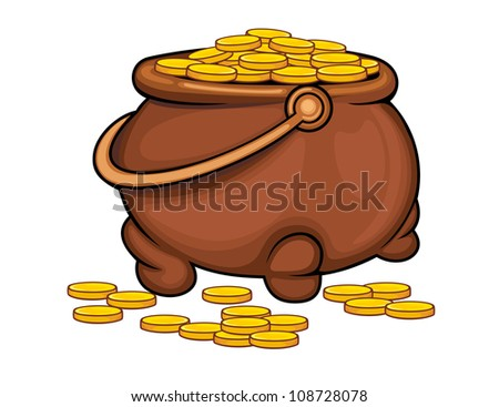 Pot with gold coins - stock vector