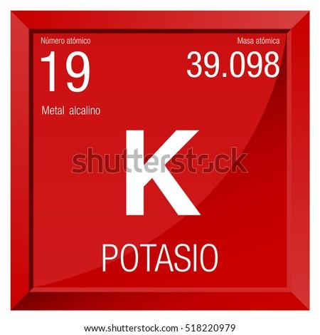 Potasio Symbol   Potassium In Spanish Language   Element Number 19 Of The Periodic  Table Of