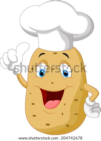Potato chef cartoon giving thumb up - stock vector