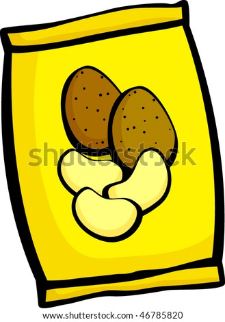 potato chips bag - stock vector
