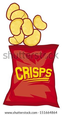 potato chips bag (potato crisps bag) - stock vector