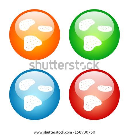 Potato Chips Icon Glass Button Icon Set - stock vector