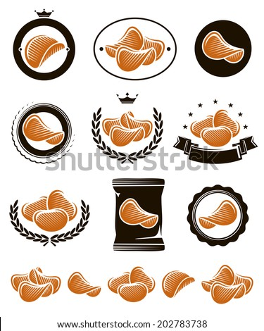 Potato chips set. Vector - stock vector
