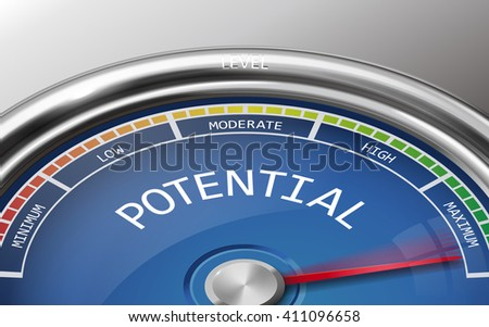 potential conceptual 3d illustration meter indicator isolated on grey background - stock vector