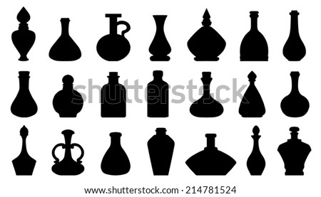potion silhouettes on the white background - stock vector