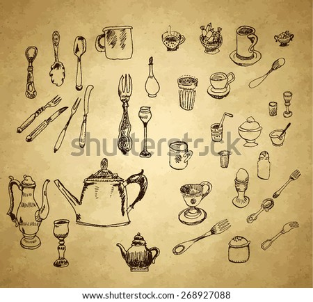 Pots and pans. Vector set in vintage style - stock vector