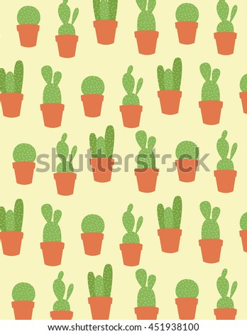 Potted cactus plant over yellow background