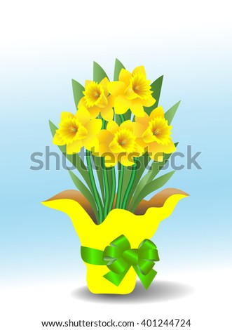 Potted daffodils in a decorative paper wrapped pot