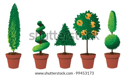 Potted Topiary Collection EPS 8 vector, grouped for easy editing. No opens tapes or paths,
