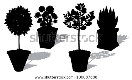 Potted Topiary Silhouette Collection EPS 8 vector, grouped for easy editing No open shapes or paths. - stock vector