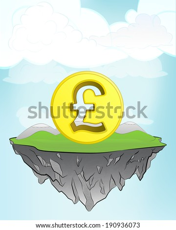 Pound coin on flying island concept in sky vector illustration