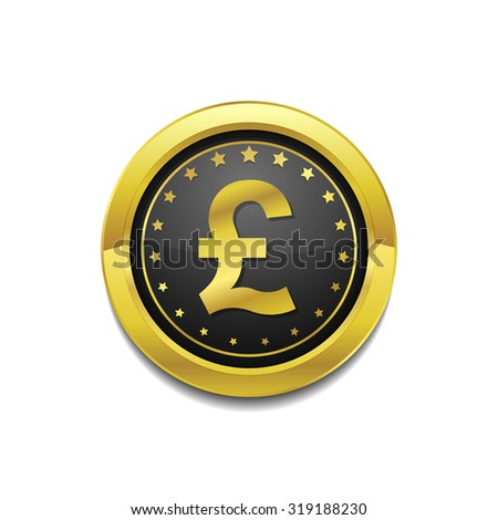Pound Currency Sign Circular Vector Gold Web Icon Button