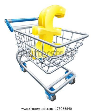 Pound currency trolley concept of Pound sign in a supermarket shopping cart or trolley - stock vector