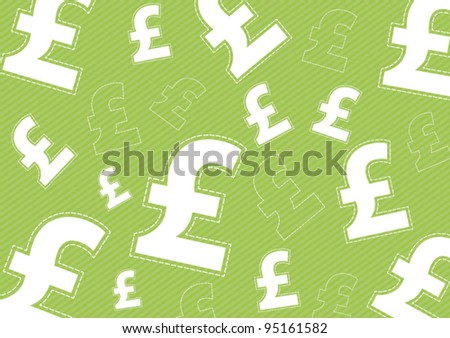 Pound money icon on green background - stock vector