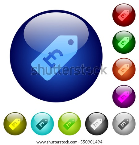 Pound price label icons on round color glass buttons