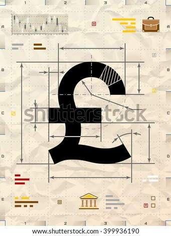 Pound sign as technical blueprint drawing. Drafting of money symbol on crumpled kraft paper. Qualitative vector illustration for banking, financial industry, economy, accounting, etc