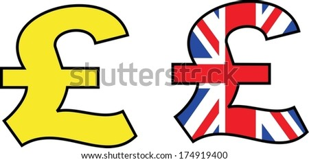 pound symbol painted in the colors of Great Britain - stock vector