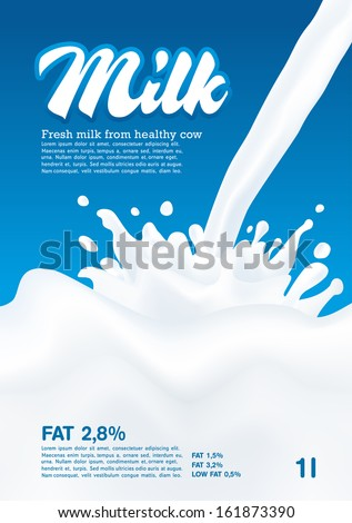 Pouring Milk Splash, Milk wave, blue background, vector - stock vector