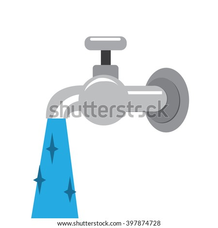 pouring water tap-vector - stock vector