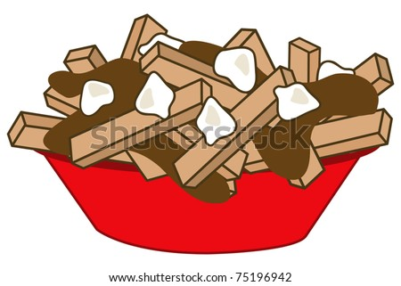 poutine ; quebec fast-food meal - stock vector