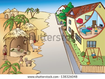 Poverty and richness - stock vector