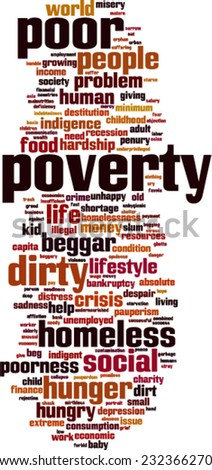 Poverty word cloud concept. Vector illustration - stock vector