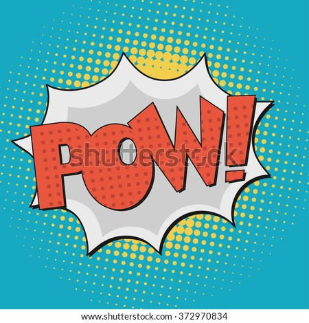 Pow, Comic Book Bubble Text on a dots pattern background in Pop-Art Retro Style - stock vector