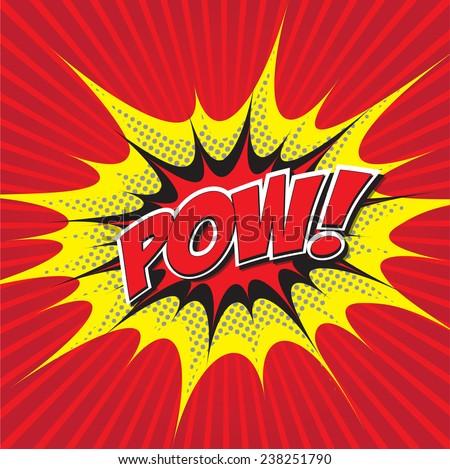 POW! wording sound effect set design for comic background, comic strip - stock vector