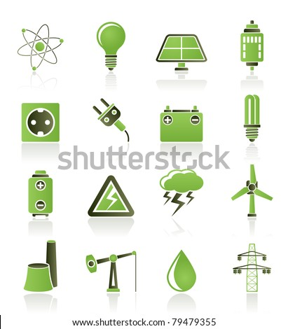 Power and electricity industry icons - vector icon set - stock vector
