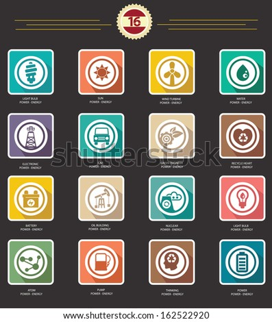 Power and Energy icons,retro version,vector - stock vector