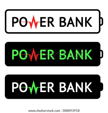 Power bank logo. Vector illustration. Frame of the battery image. Vector power bank. Power bank isolated. Power bank icon. Power bank symbol. Power bank sign. Power bank icons. Power bank logos. Power - stock vector