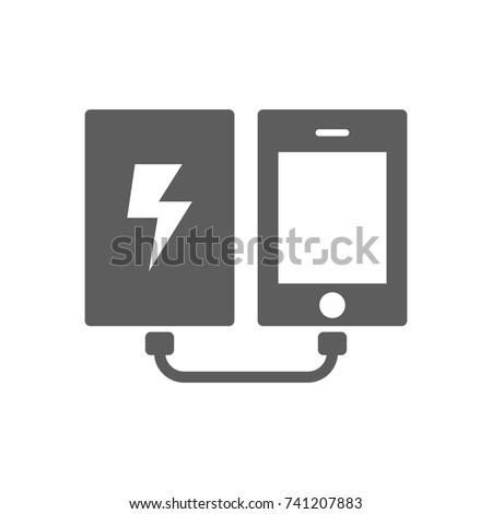 Power Bank Phone Icon Trendy Flat Stock Photo Photo Vector