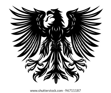 Power black eagle for heraldry or tattoo design, such  a logo. Jpeg version also available in gallery - stock vector