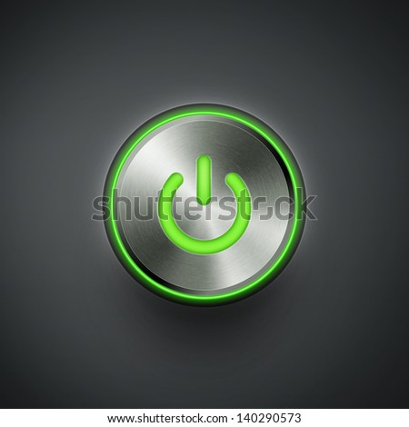 power button with green light eps10 vector illustration