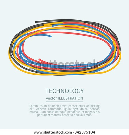 Power cord from the multicolored wires with place for text - stock vector