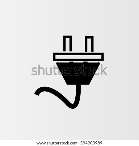 Power Cord Vector Icon Outlined Symbol Stock Photo Photo Vector