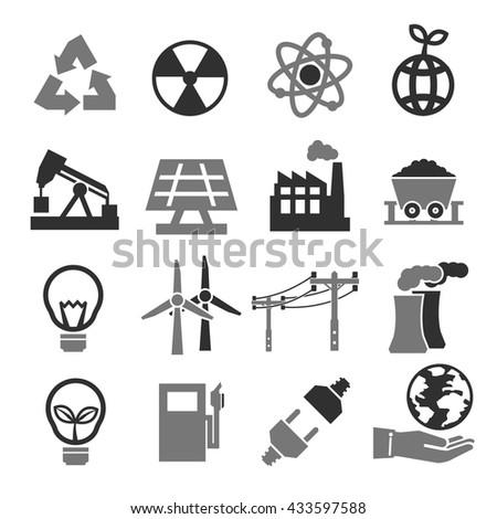 power eco icon set - stock vector