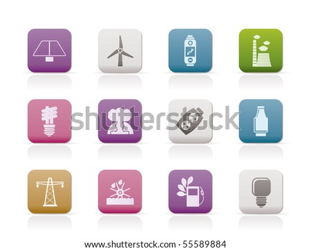 Power, energy and electricity icons - vector icon set - stock vector